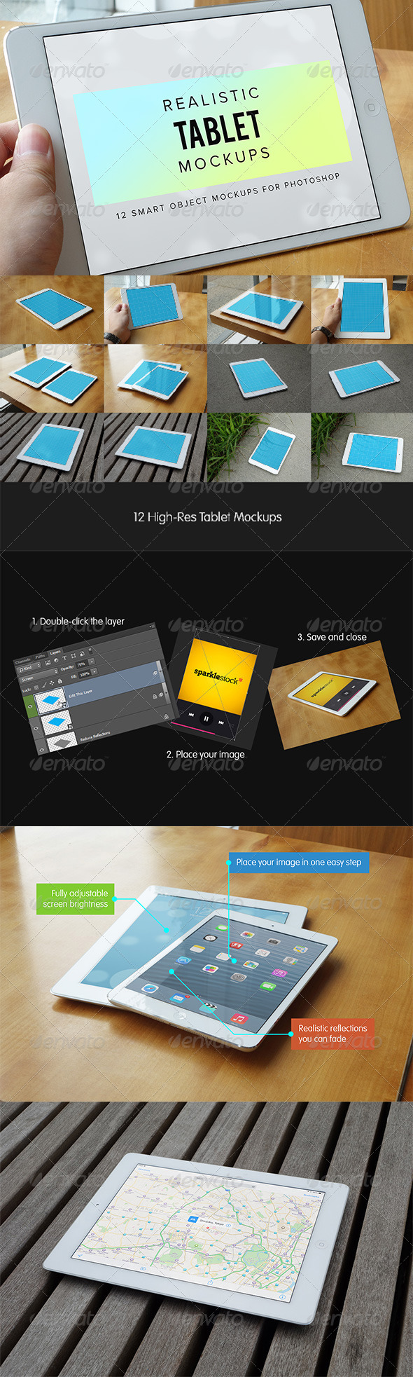 12 Realistic Tablet Mockups - Mobile Displays