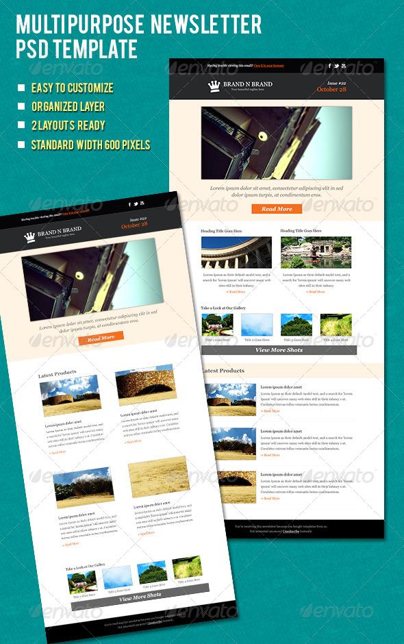 Multipurpose Newsletter - E-newsletters Web Elements