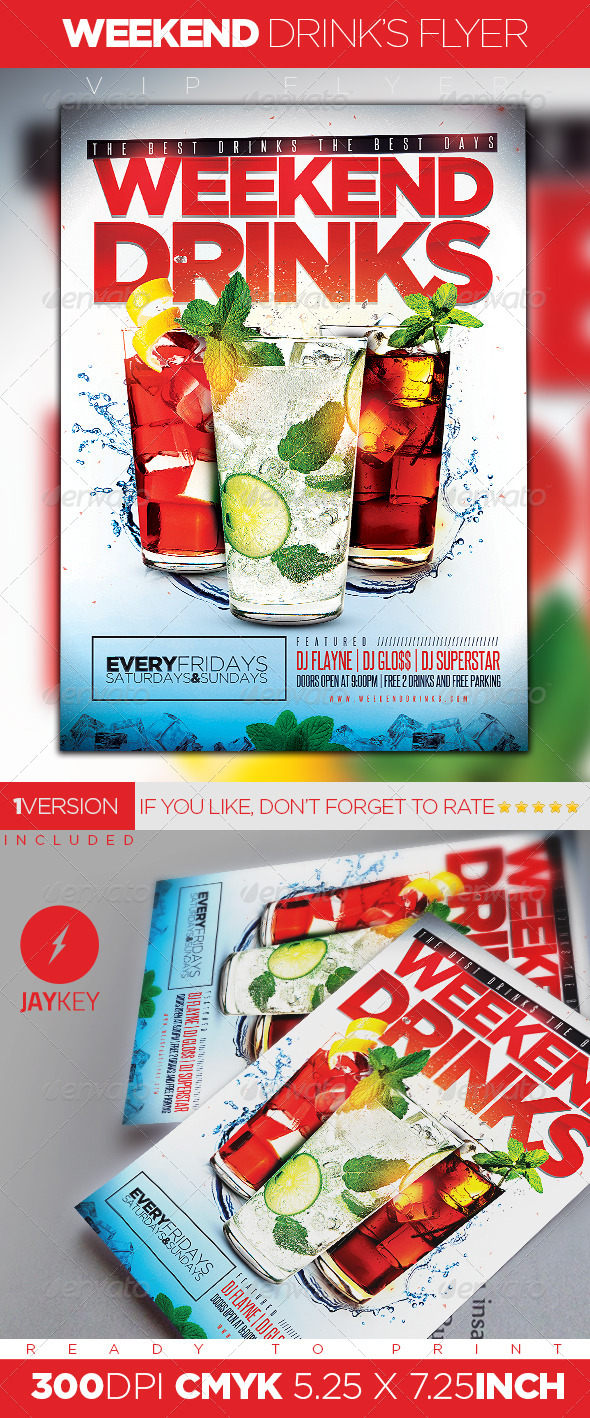 Weekend Drinks Flyer - Clubs & Parties Events