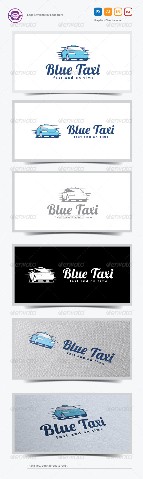 Blue Taxi Logo Template - Objects Logo Templates