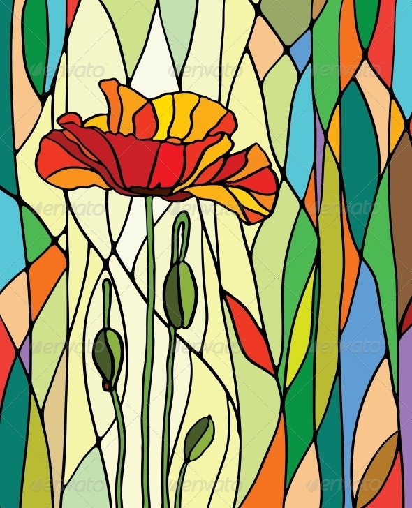 Stained Glass Window - Flowers & Plants Nature
