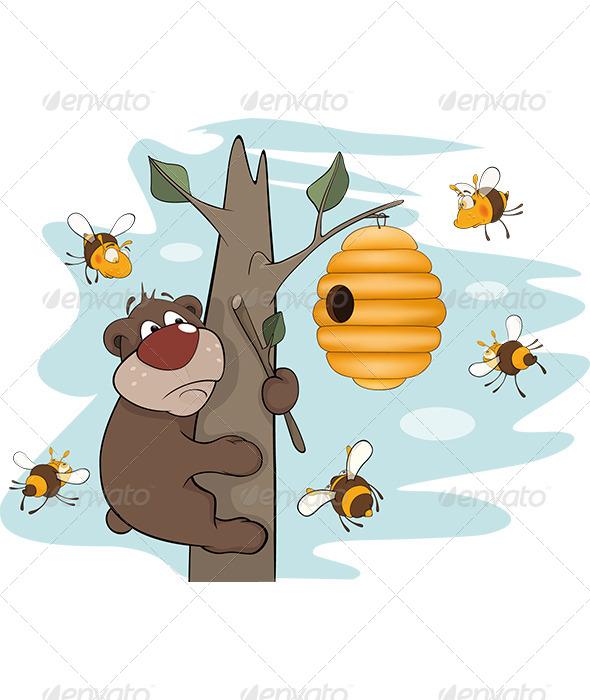 Bear Cub and Bees Cartoon - Animals Characters