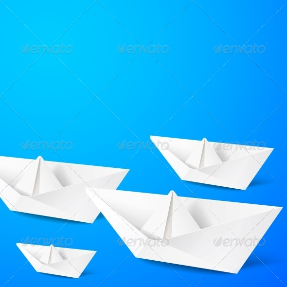 Paper Boat on Blue Background - Travel Conceptual