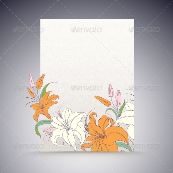 Lily on a Sheet of Paper. - Flowers & Plants Nature