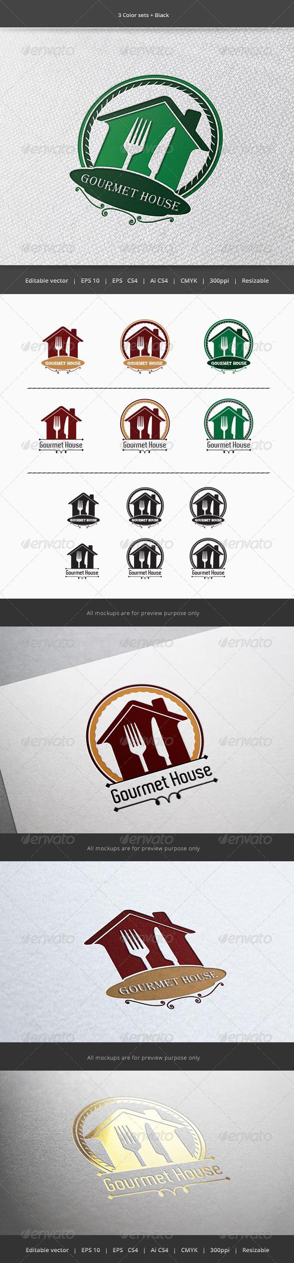 Gourmet House Restaurant Logo - Restaurant Logo Templates