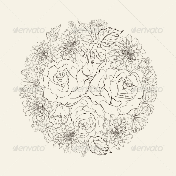 Hand Drawn Bouquet of Roses. - Flowers & Plants Nature