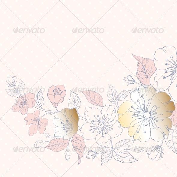 Background of Cherry Blossoms on Pink. - Flourishes / Swirls Decorative