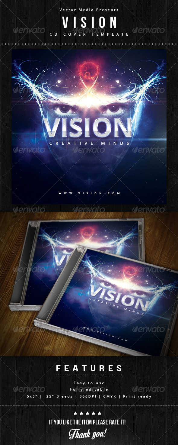 Vision - Cd Cover - CD & DVD Artwork Print Templates