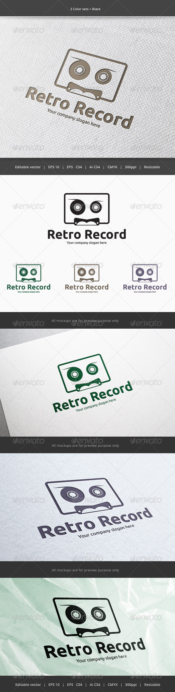 Cassette Sound Record Logo - Objects Logo Templates