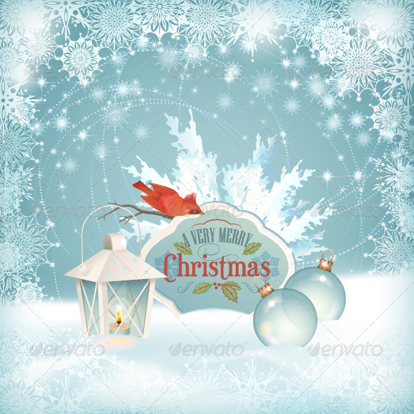 Xmas Bird Lantern Christmas Balls Background - Christmas Seasons/Holidays