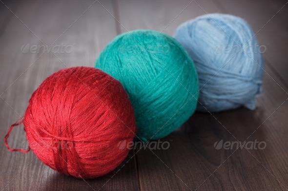 Three Knitting Balls Of Threads - Stock Photo - Images