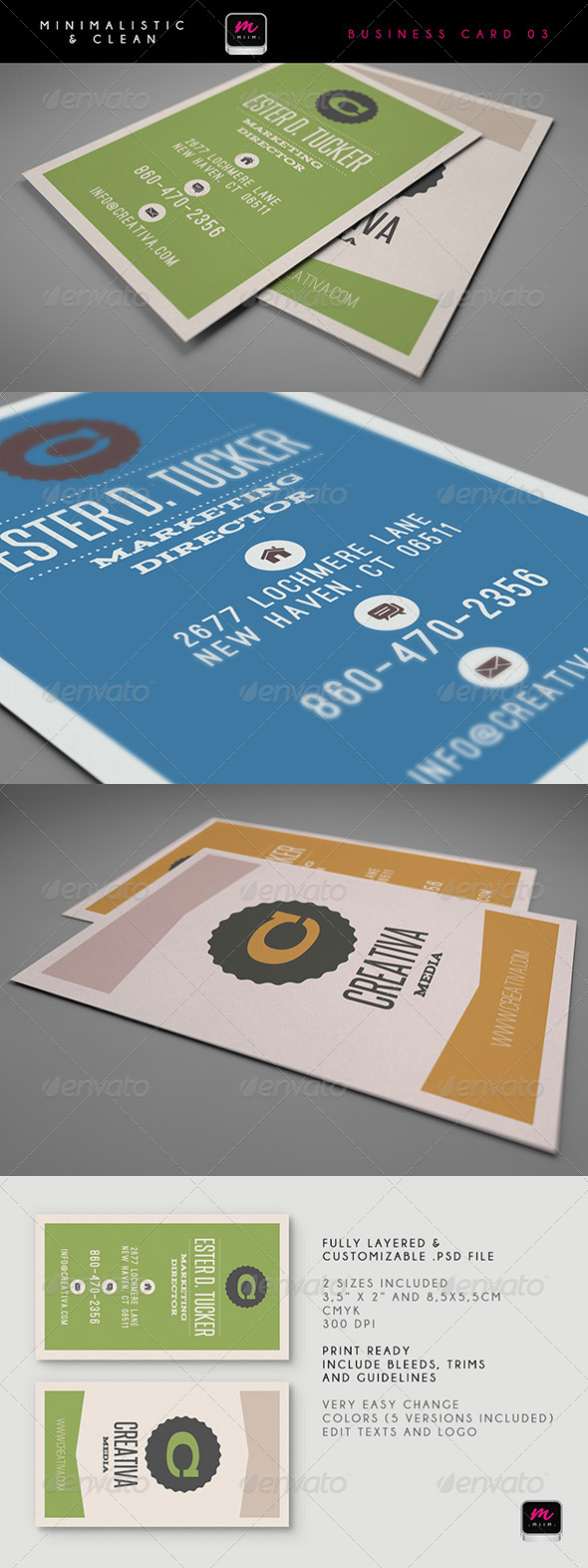 Clean Business Card Template 04 - Retro/Vintage Business Cards