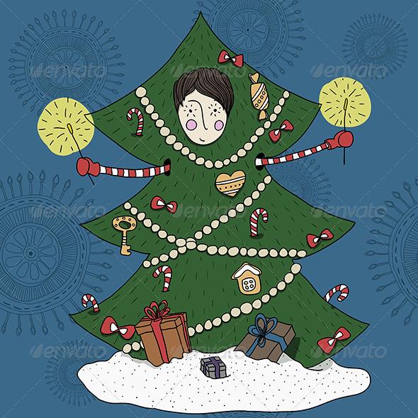 Boy in a Christmas Tree Costume - Christmas Seasons/Holidays