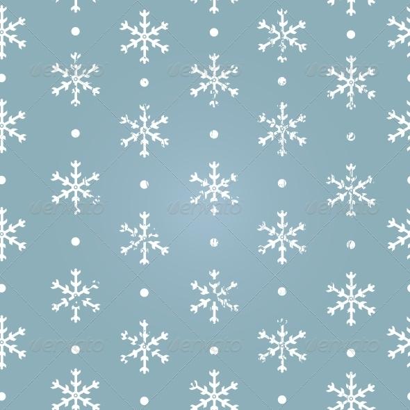Vector Seamless Pattern of Snowflakes - Seasons Nature