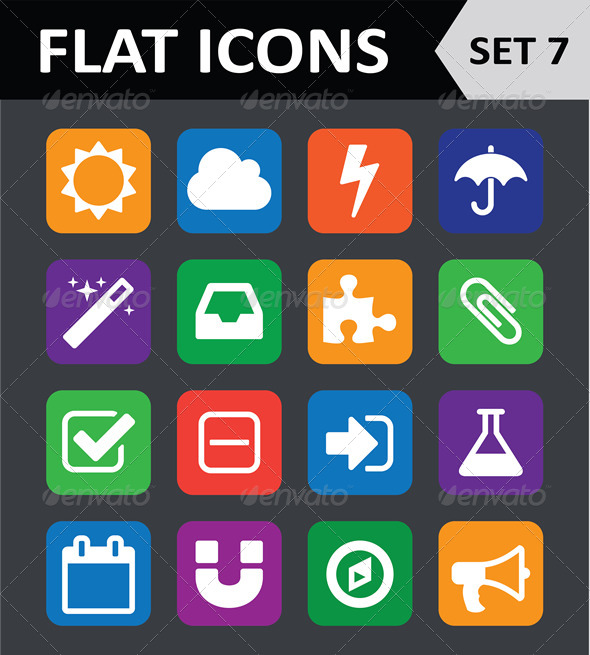Universal Colorful Flat Icons. Set 7. - Icons