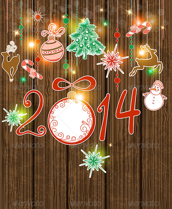 Vector Wooden Christmas Background  - Christmas Seasons/Holidays