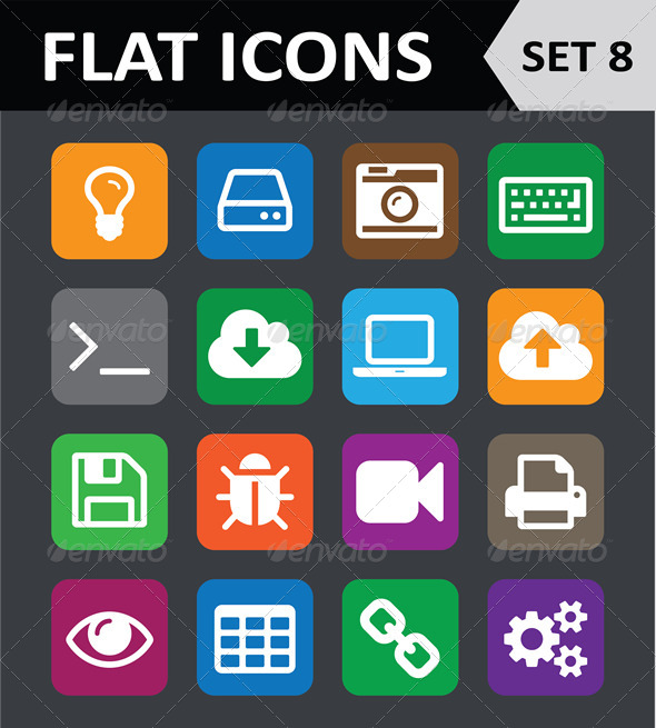 Universal Colorful Flat Icons. Set 8. - Icons