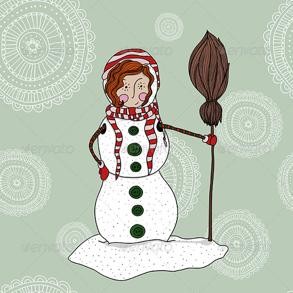 Girl in a Snowman Costume - New Year Seasons/Holidays