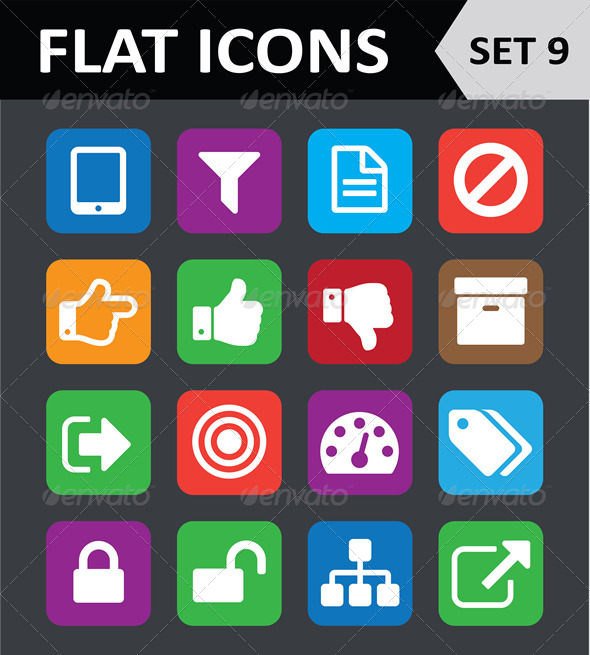 Universal Colorful Flat Icons. Set 9. - Icons