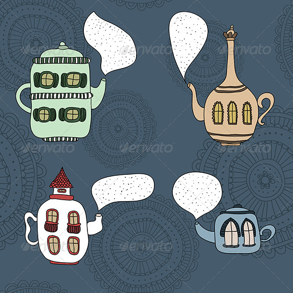 Set of Four Teapot Houses - Miscellaneous Conceptual