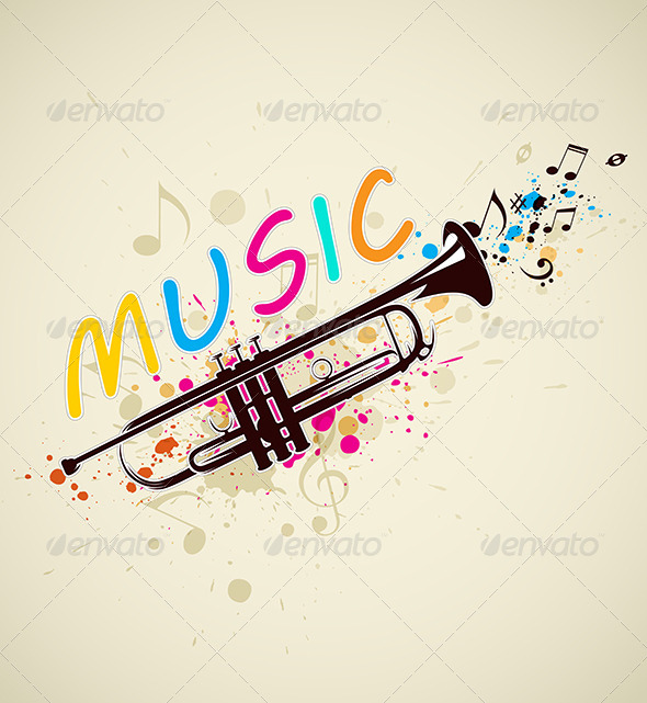 Music Background with Trumpet  - Miscellaneous Vectors