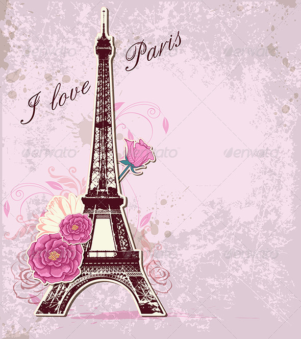 Roses and  Eiffel Tower - Travel Conceptual