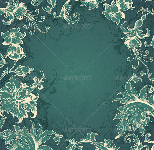 Green  Victorian Background - Backgrounds Decorative