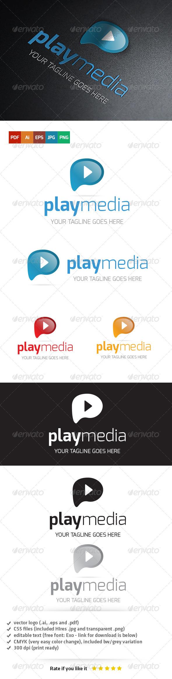 Play Media Logo Template - Vector Abstract