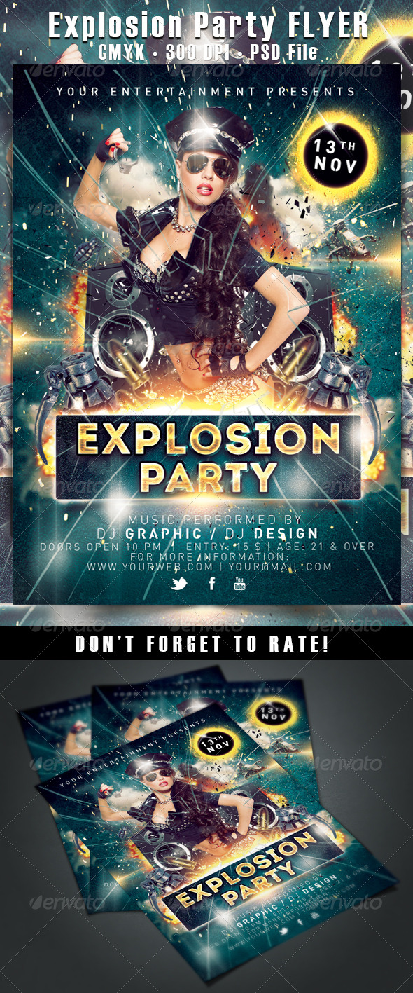 Explosion Party Flyer - Clubs & Parties Events