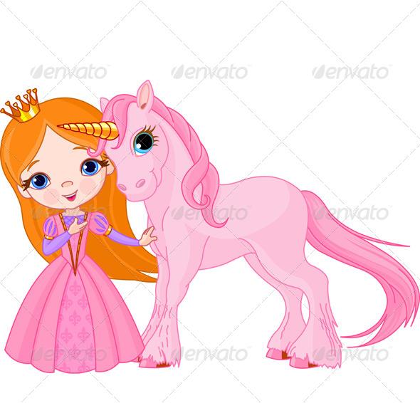 Princess and Unicorn - Characters Vectors