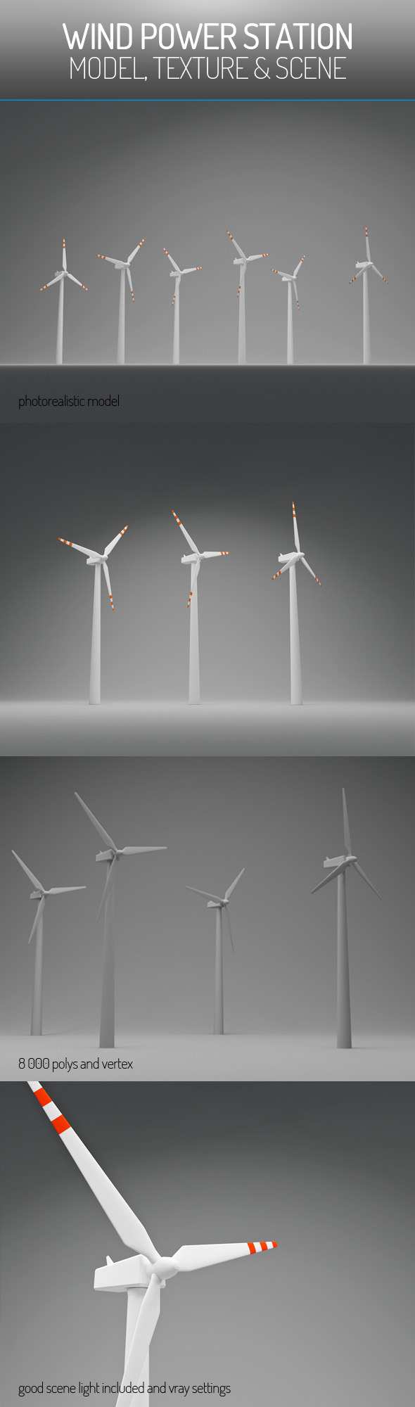 Wind Power Station - 3DOcean Item for Sale