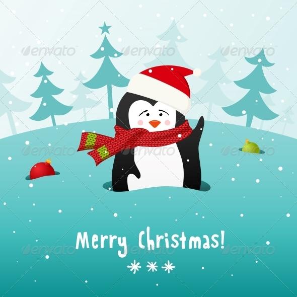 Christmas Penguin. Vector Background. - Christmas Seasons/Holidays
