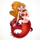 Blond Mermaid with Red Scales - GraphicRiver Item for Sale