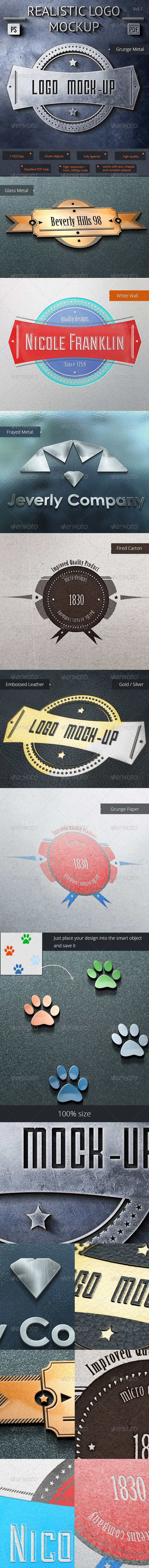 7 Realistic Logo Mock-Up Vol.1 - Logo Product Mock-Ups