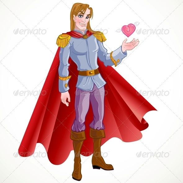 Charming Blond Prince with Pink Heart - People Characters