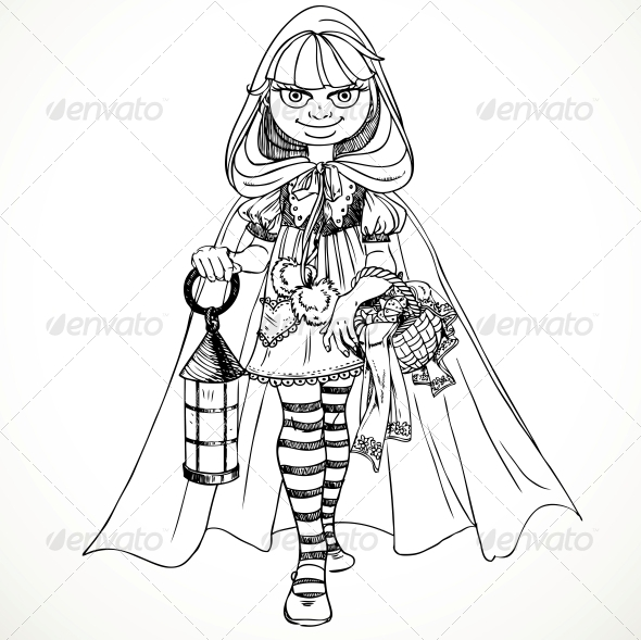 Little Red Riding Hood with a Basket of Pies - People Characters