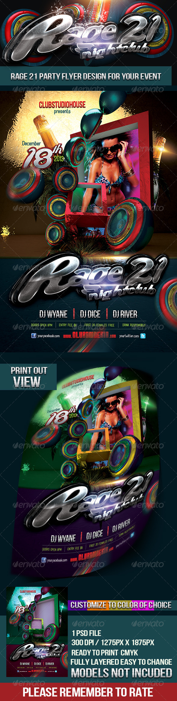Rage 21 Nightclub Party Flyer - Clubs & Parties Events