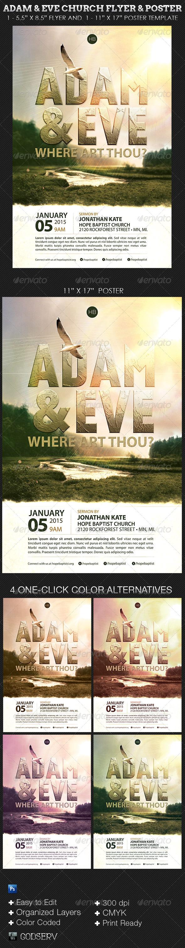 Adam Eve Flyer Poster Church Template - Church Flyers