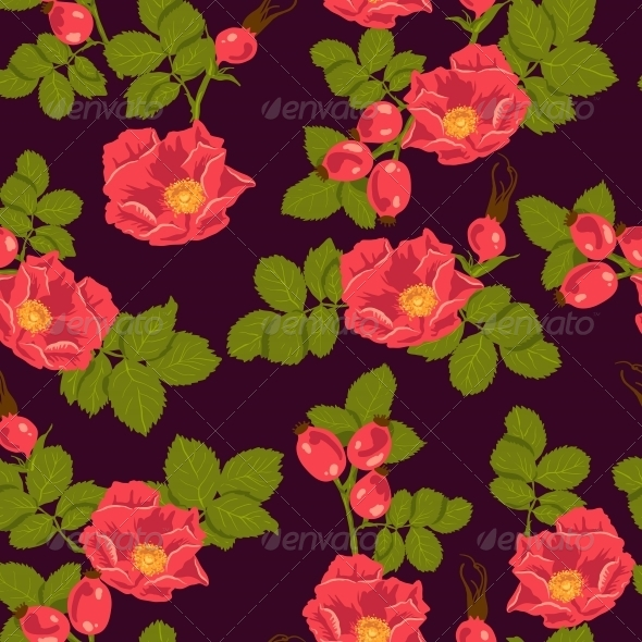 Seamless Floral Background with Wild Rose - Patterns Decorative