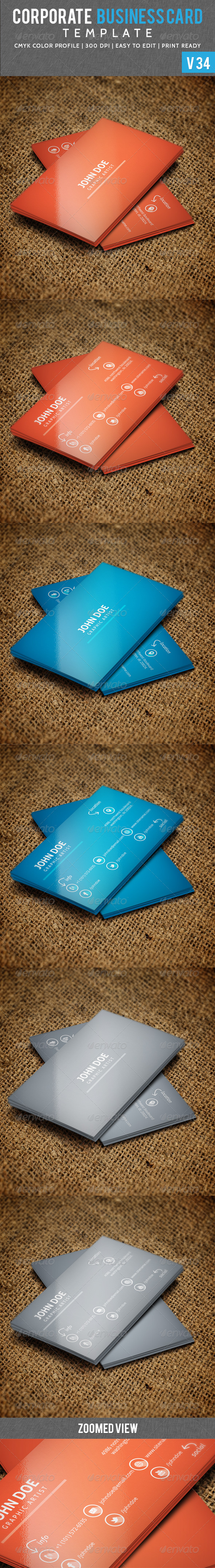 Long Shaded Corporate Business Card V 34 - Corporate Business Cards