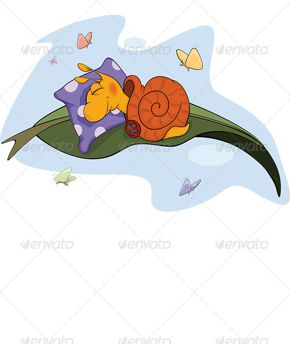 Sleeping Snail Cartoon  - Animals Characters