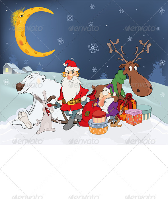 Santa Claus his Friends and Christmas Gifts - New Year Seasons/Holidays