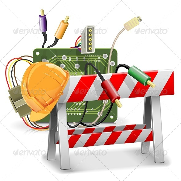 Vector Under Construction Concept with Barrier - Web Technology