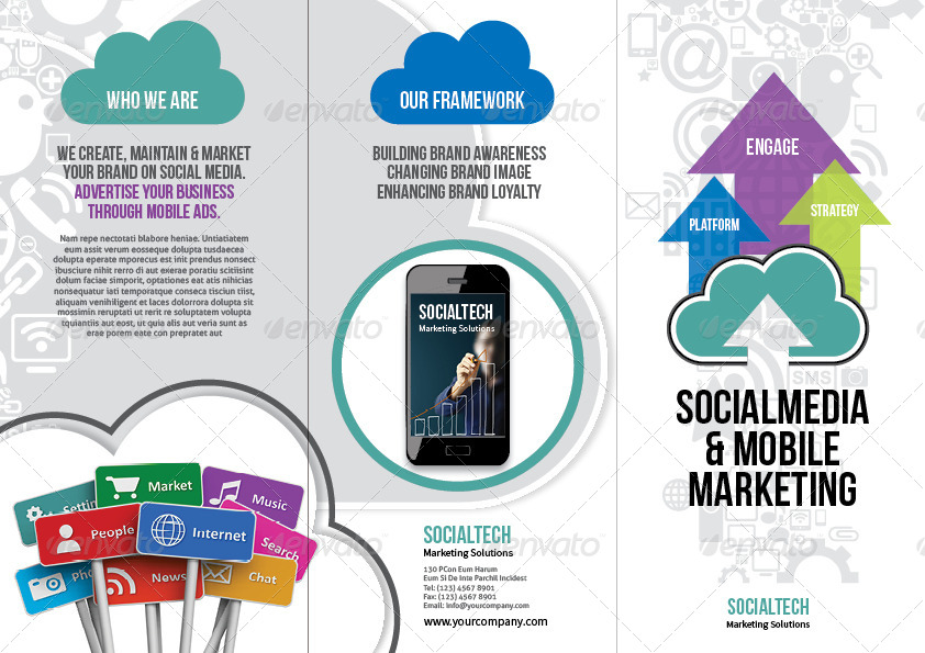 social media  u0026 mobile marketing trifold brochure by