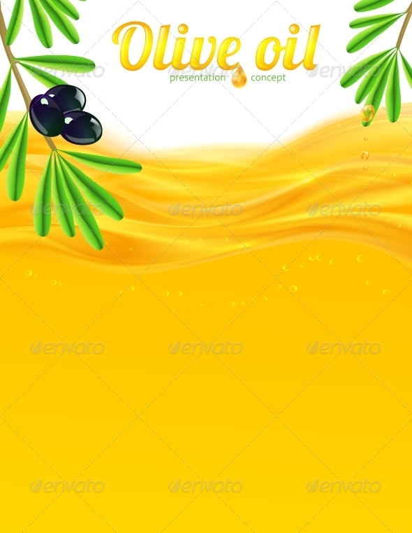 Olive Oil and Branches Vector Background - Food Objects