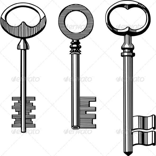 Vintage Keys - Man-made Objects Objects