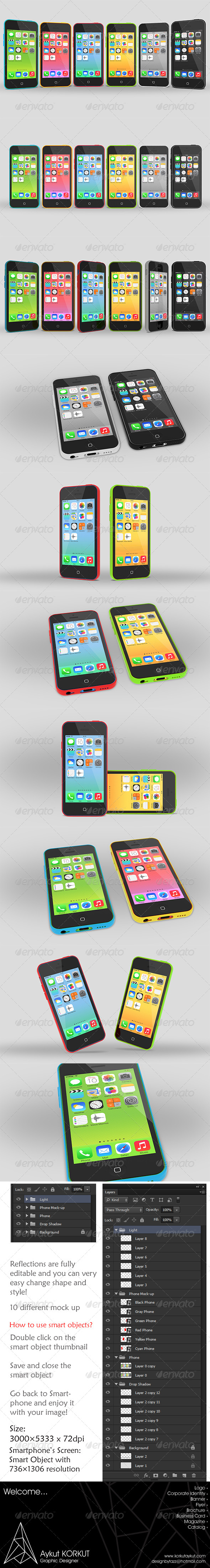 uPhone 5c Mock up - Mobile Displays
