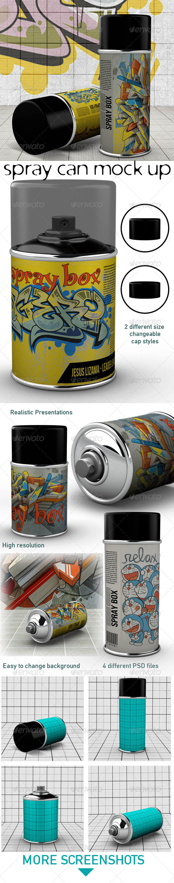 Spray Can Mock Up - Miscellaneous Product Mock-Ups