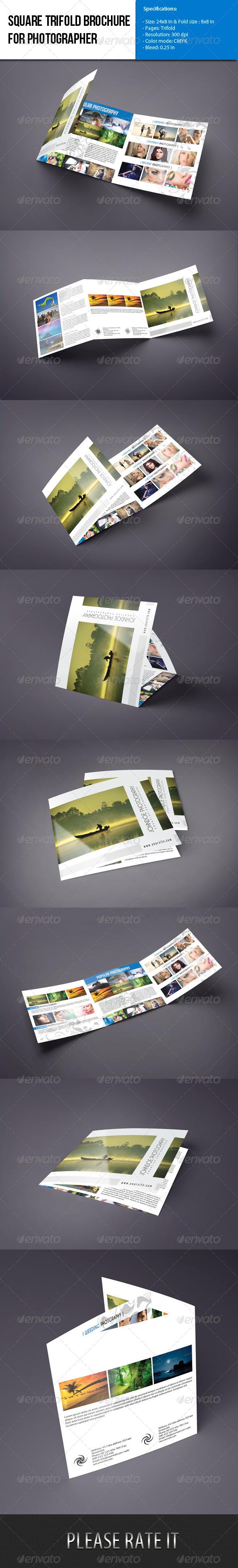 Square Trifold brochure-Photographer Portfolio - Portfolio Brochures