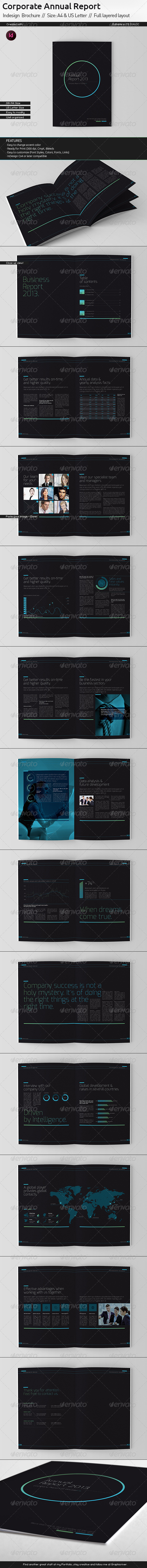 Black Annual Report // A4 and US Letter Size - Corporate Brochures